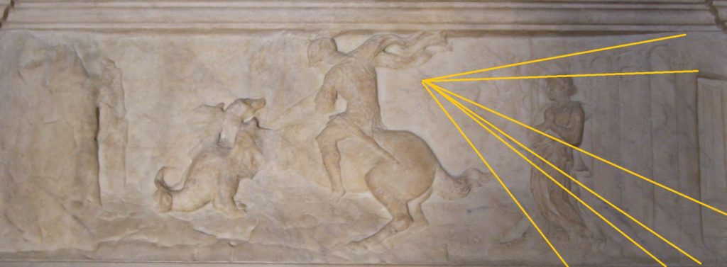 Donatello, St. George fighting against the dragon, bas-relief, ca. 1417, Orsanmichele (orignal in the Bargello Museum).