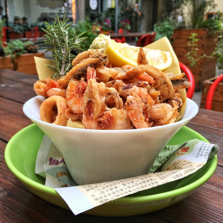 Gluten free variety of fried fish at Quinoa restaurant