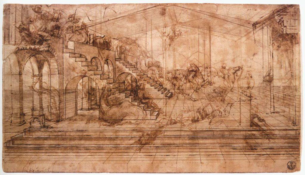 Leonardo da Vinci, study for the Adoration of the Magi, Gabinetto Disegni e Stampe degli Uffizi, Florence