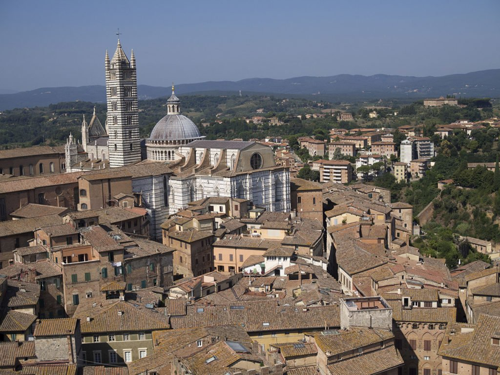 View on the Sienese Cathedral from the Torre del Mangia