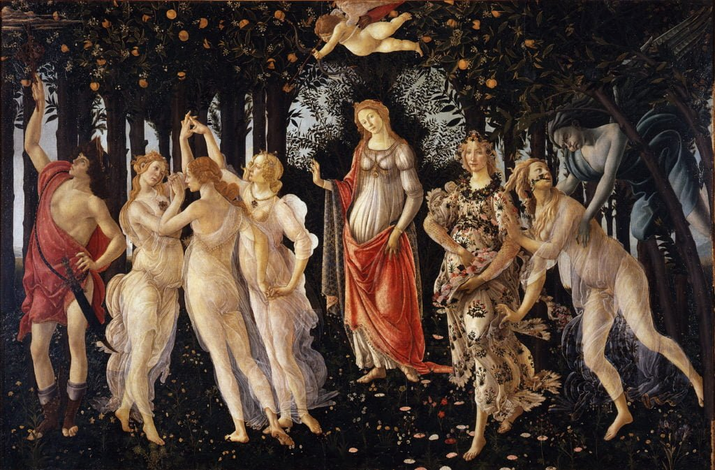 """Sandro Botticelli, """"La Primavera"""", Galería de los Oficios, Florencia"""