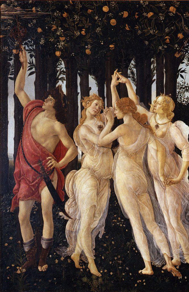 """Sandro Botticelli, """"La Primavera"""", detalle con Mecurio y las Tres Gracias, Galería de los Oficios, Florencia"""
