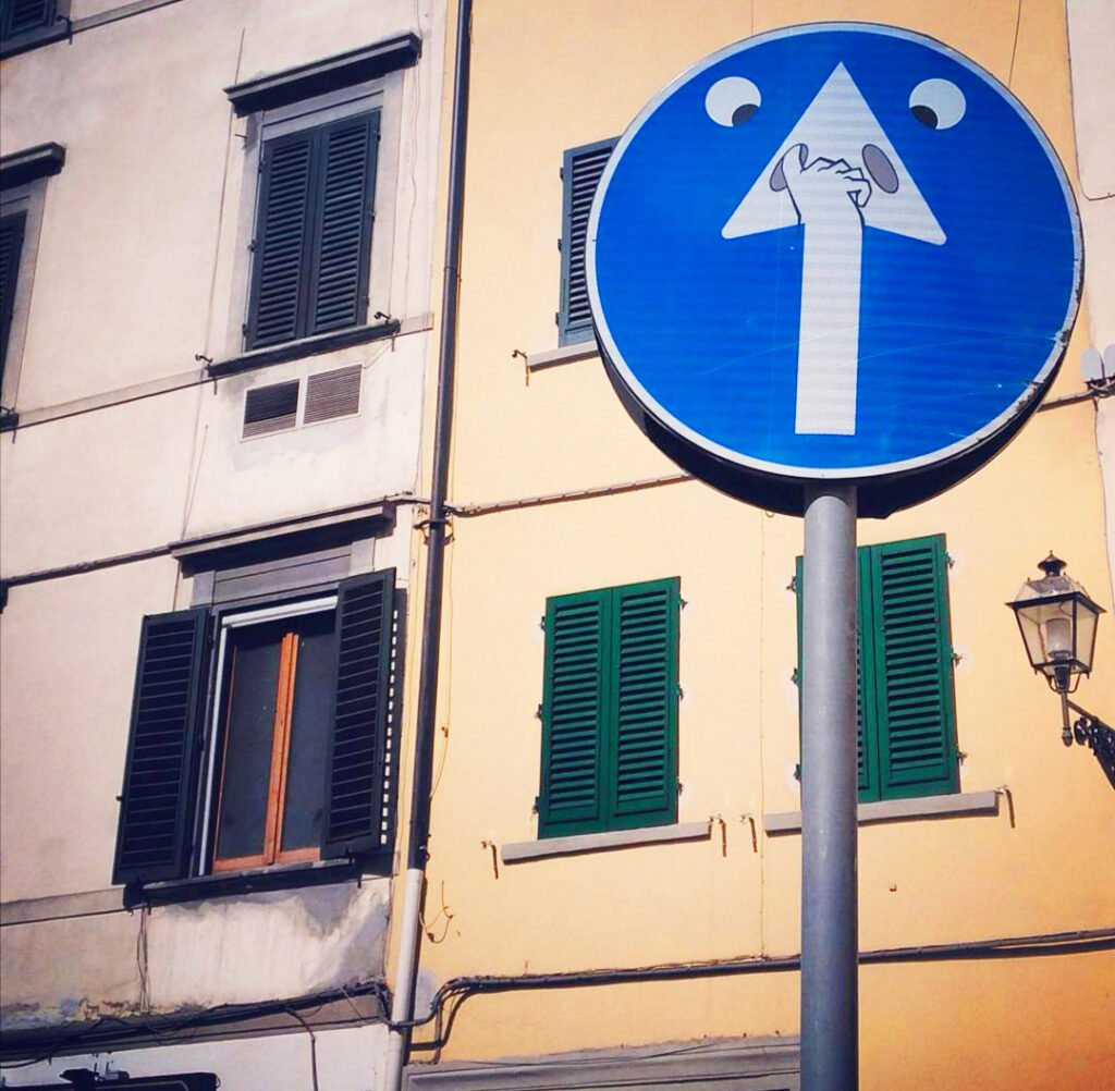 Clet Abraham's street sign in Florence