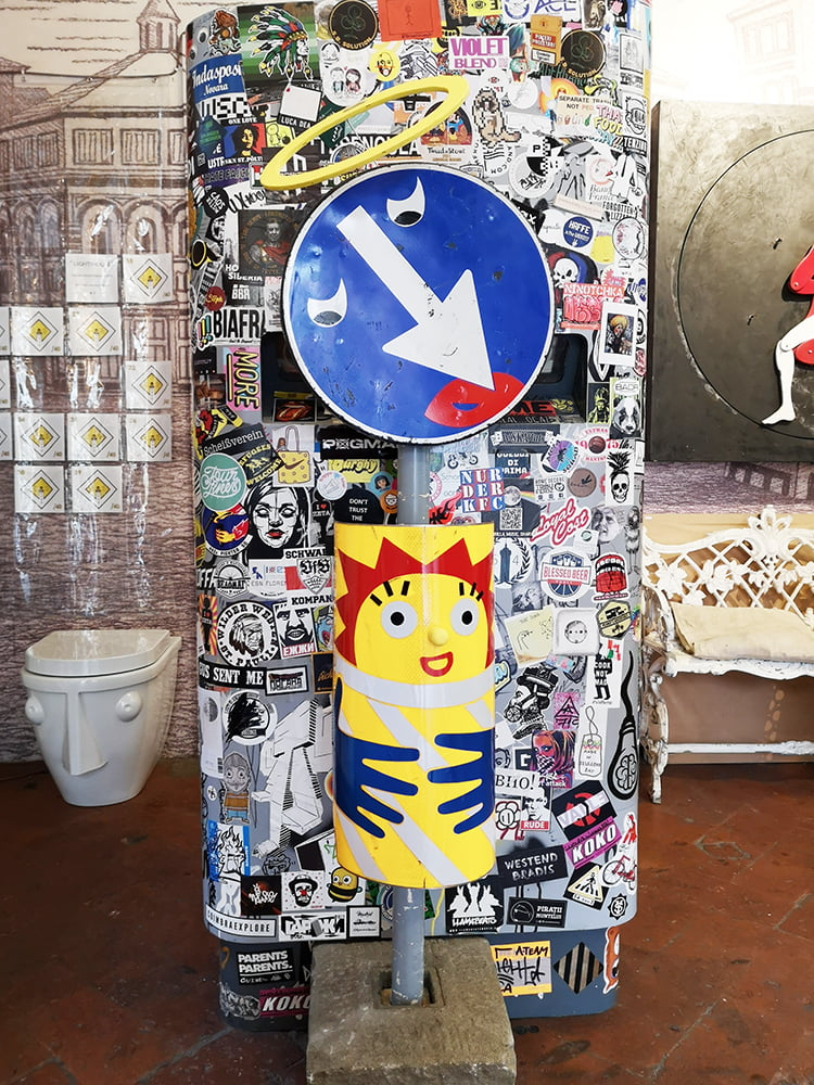 Clet's crib displayed in his studio